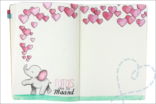 Bullet journal februari fotos Valentijn olifant