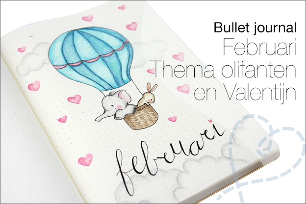 Bullet journal februari thema olifant valentijn