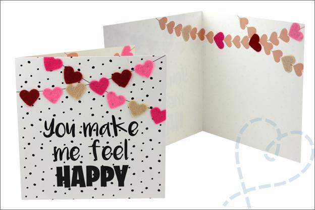 DIY Valentijnsdag kaart Action vilt hartjes