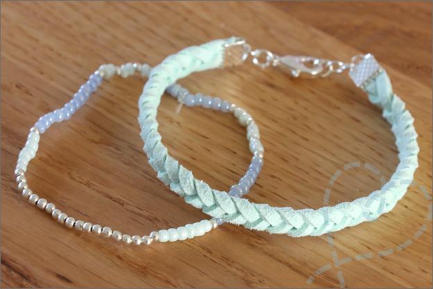 Sieraden maken zomerse armbanden suede rocailles kralen
