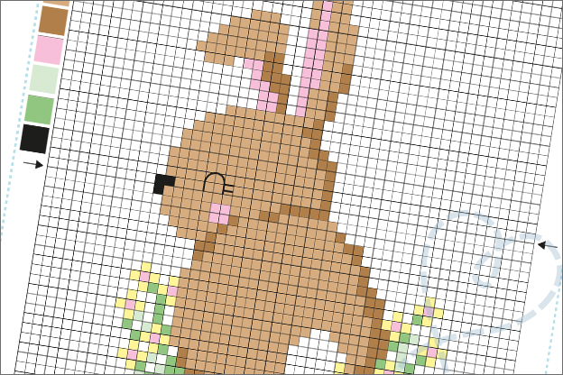 Borduren konijntje gratis zelfgemaakt borduurpatroon