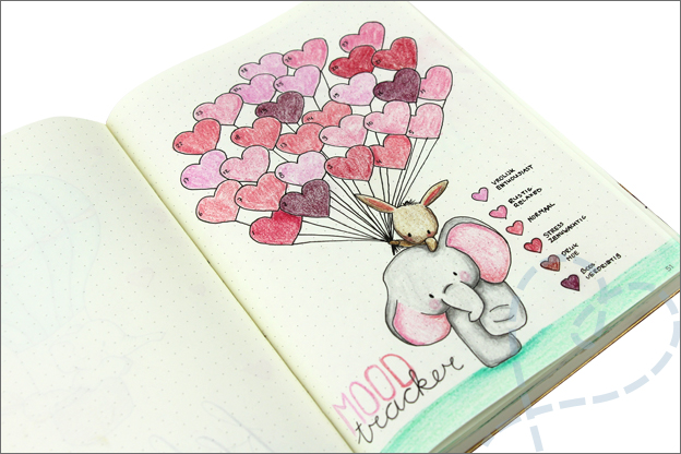 Bullet journal mood tracker Valentijn hartjes olifant