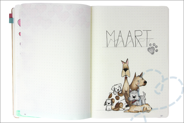 Bujo maart cover thema honden tekenen