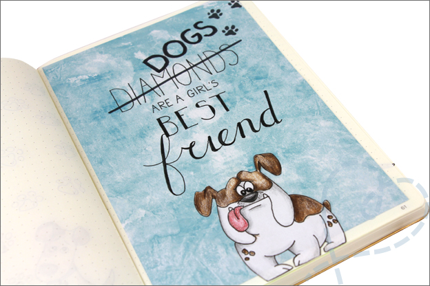 bullet journal maart quote dogs art