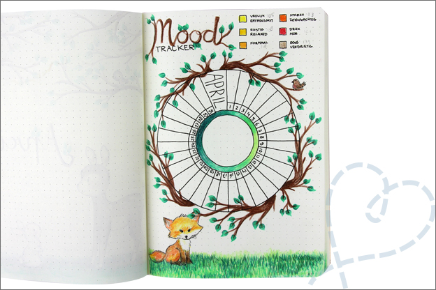 Bujo april bosdieren mood tracker voorbeeld
