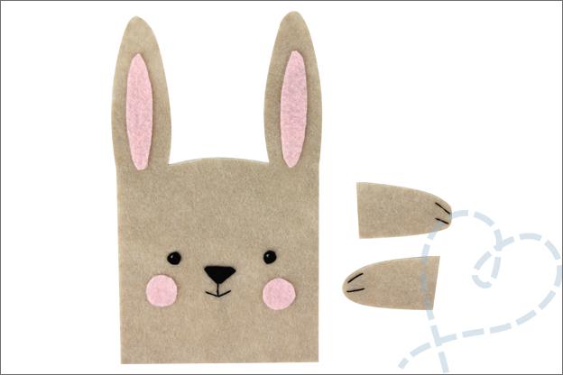 DIY vilt Pasen konijn cadeautasje