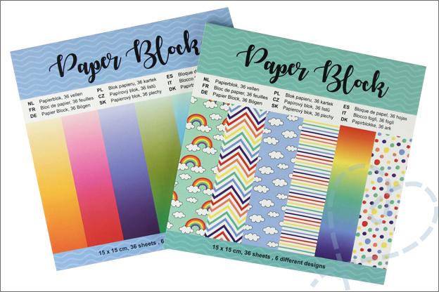 Kaarten maken action papierblokken wolken regenboog