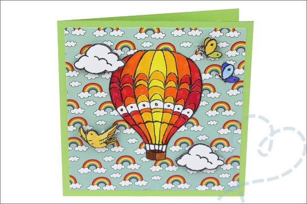 Kaarten maken action wolken regenboog papier