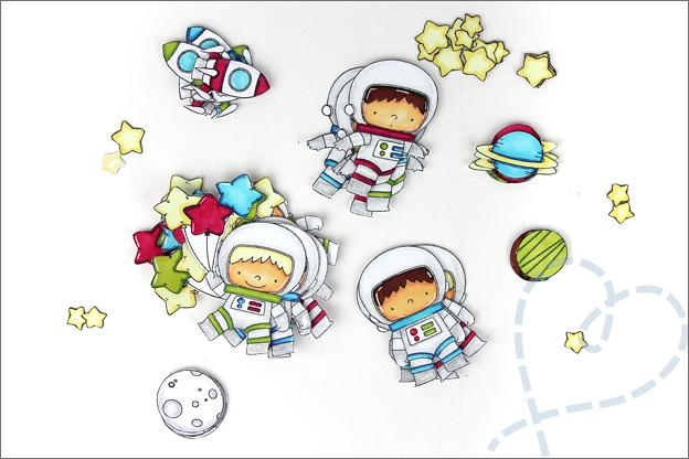 Kaarten maken astronauten uitknippen