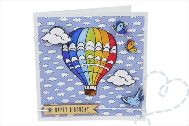 Kaarten maken clear stamps luchtballon action