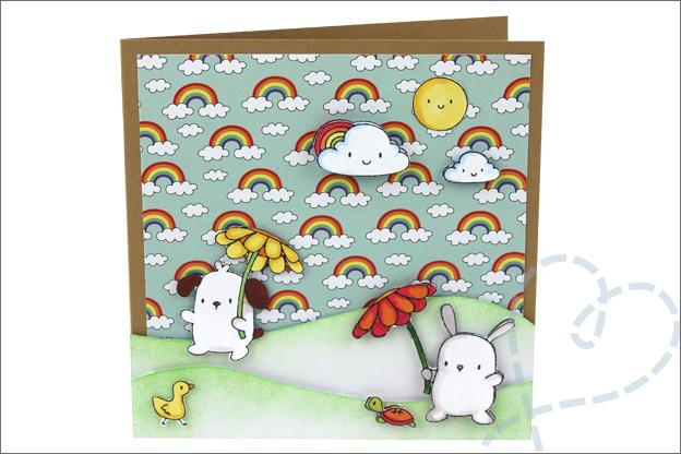 Kaarten maken papierblok action regenboog