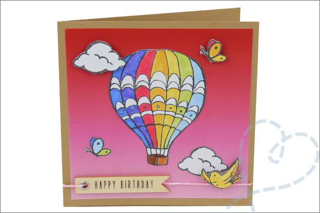 Kaarten maken verjaardag luchtballon papierblok action