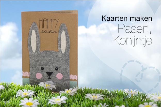 kaarten maken pasen konijn vilt gratis patroon