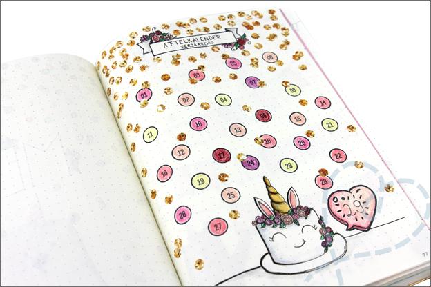 Bullet journal verjaardag aftelkalender ingevuld