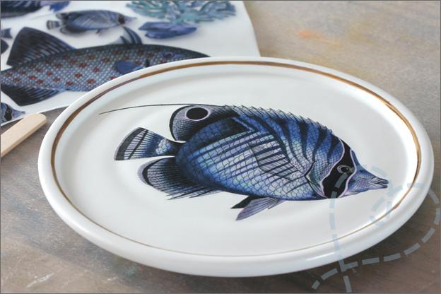 HEMA keramiek DIY wandbord sticker vis