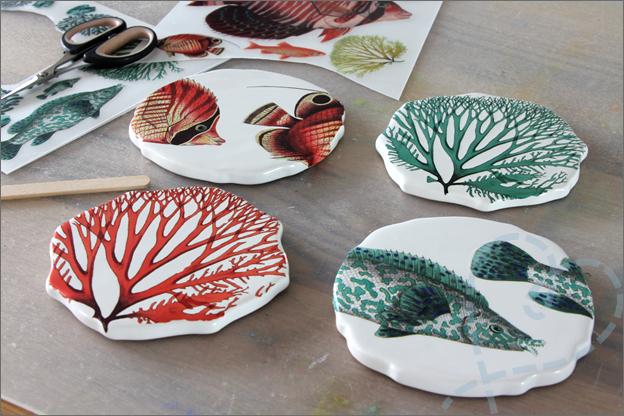 HEMA onderzetters keramiek DIY vossen koraal