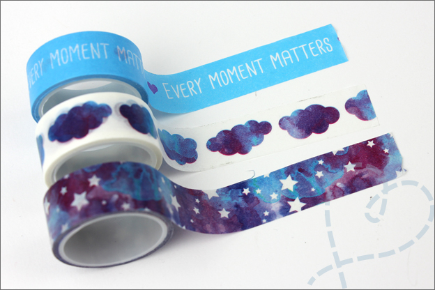 Washi tape DIY action wolken aquarel sterren