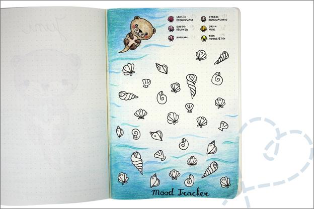 Bujo juni thema otter mood tracker tekenen schelpen
