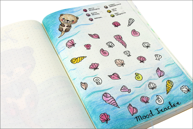 Bullet journal juni thema otter mood tracker schelpen