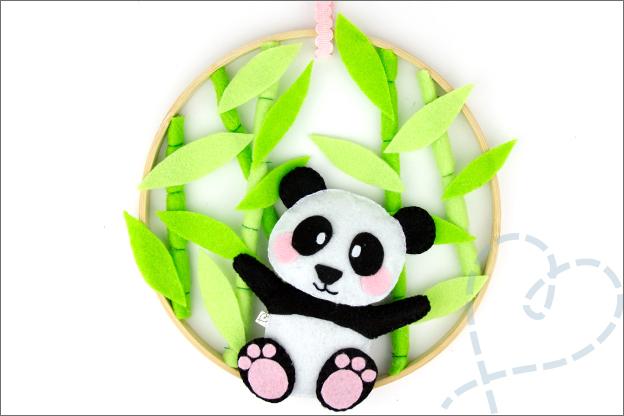 DIY panda borduurring uitleg Eindresultaat