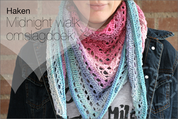 Haken omslagdoek midnight walk gratis haakpatroon