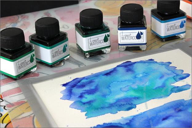 Action review liquid watercolor achtergrondjes maken