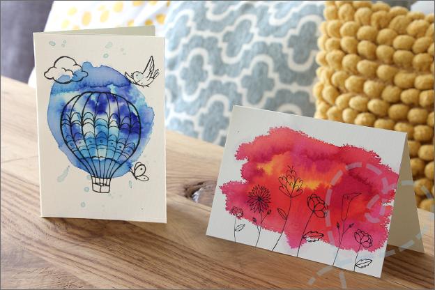 Action review liquid watercolor kaarten maken