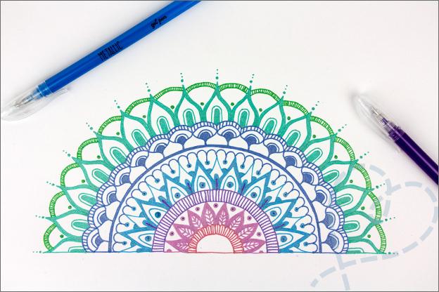 DIY Mandala tekenen halve pagina tutorial