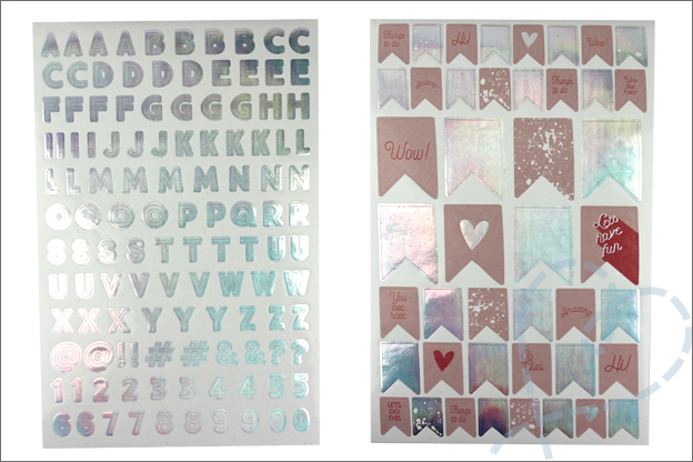 Action stickers letters vlaggetjes holografisch folie