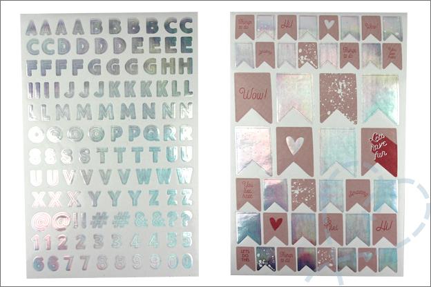 Action stickers letters vlaggetjes holografisch folie
