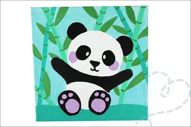 DIY schilderij zelf maken makkelijk kinderkamer panda
