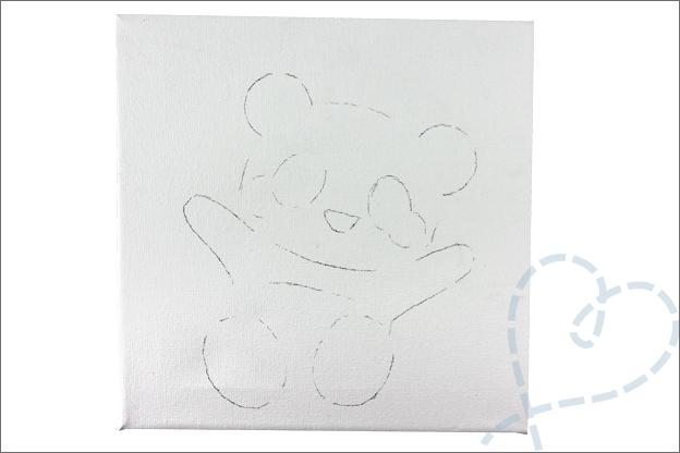 DIY schildersdoek schetsen tekenen potlood panda