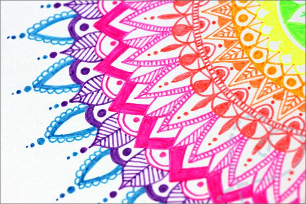 Kaarten maken Mandala close up