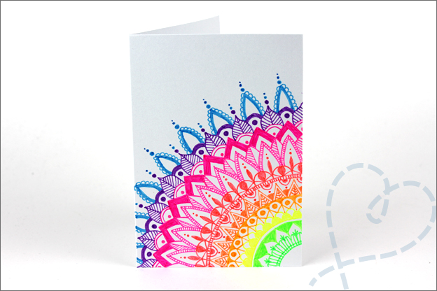 Kaarten maken Mandala middelpunt kleurrijk gelpennen