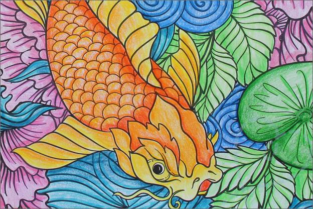 Kleuren voor volwassenen uitleg kleurpotloden detail