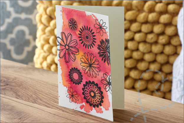 Action vloeibare waterverf kaart clear stamps
