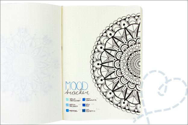 Bullet journal mandala mood tracker