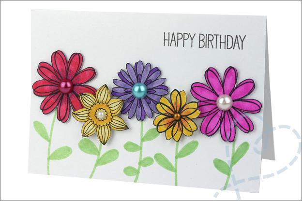 Kaarten maken Action bloemen clear stamps