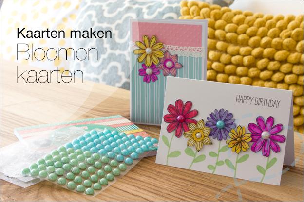 Kaarten maken Action bloemen plakparels clear stamps