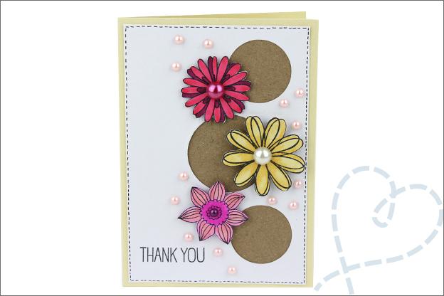 Kaarten maken bloemen bedankt inkleuren