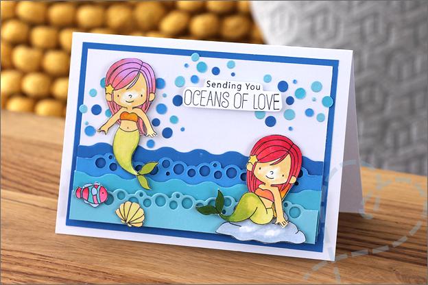 Zelf kaarten maken zeemeerin kaart meisjes
