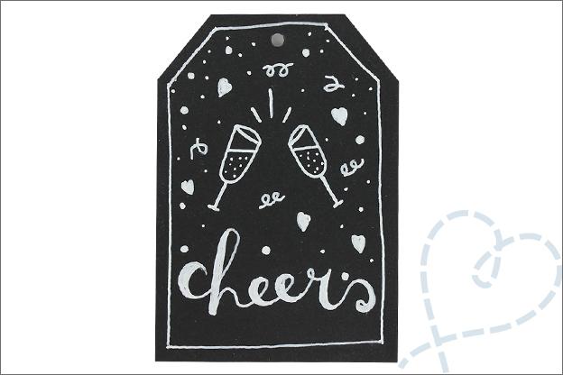 Handlettering cadeaulabels wijnfles proost