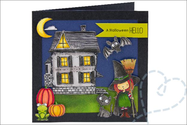 Kaarten Halloween DIY spookhuis