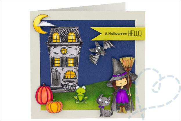 Kaarten Halloween clear stamps MFT heks