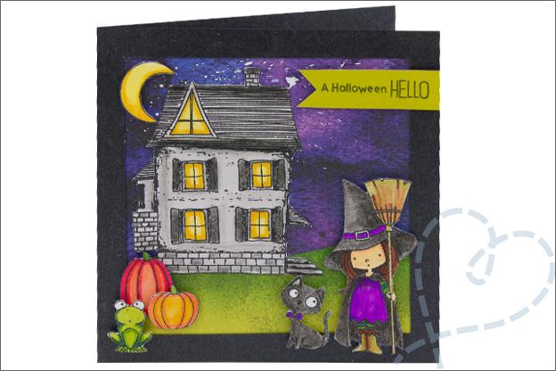 Kaarten Halloween griezelig pompon vleermuis