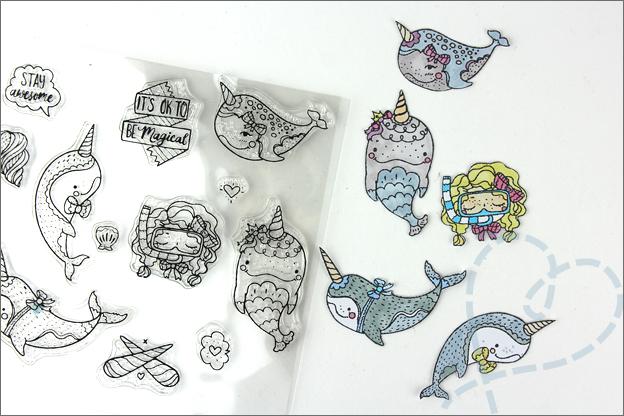 Kaarten maken clear stamps zee water