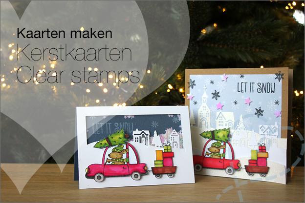 Kerstkaarten 2019 zelfgemaakt clear stamps