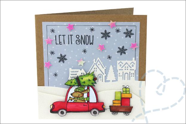 Kerstkaarten knutselen clear stamps uitleg