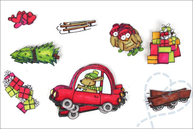 Kerstkaarten maken clear stamps action twinmarkers