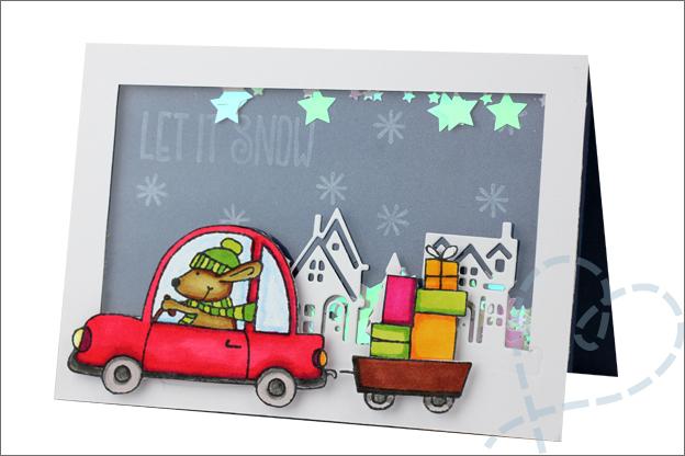 Kerstkaarten maken schudkaart kerst